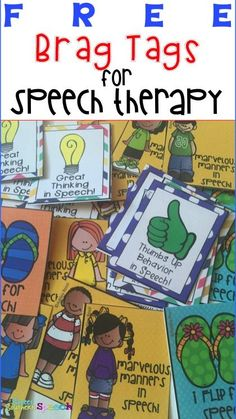 Great blog post on how to use Brag Tags for speech therapy. Love these ideas and they are so much better for therapy room reinforcement and incentives. I need this!!