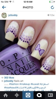 Purple butterfly nail design