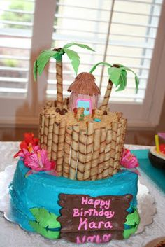 "Luau Cake  ""Aloha Kai"" love the pirouettes"