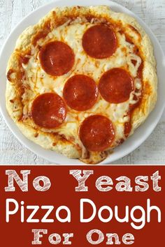 No Yeast Pizza Dough for One Recipe - quick and easy to make for lunch or dinner. No Yeast Pizza Dough for One Recipe - quick and easy to make for lunch or dinner. Pizza Dough Recipe Quick, No Yeast Pizza Dough, Quick Pizza, Personal Pizza Crust Recipe, Single Serve Pizza Dough Recipe, Pizza Recipes Without Yeast, Yeast Bread, Recipe For 1, Pizza Recipe For One