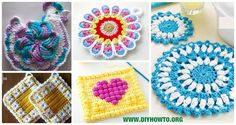 A collection of crochet potholders and hotpads free patterns, square, circle, flower and animal.