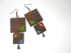 HandPainted Tribal Earrings  Laser Cut Walnut Wood by HavokDesigns, $28.50