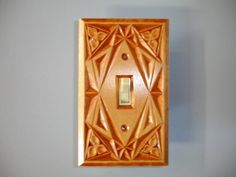 Hand carved wood electric switch cover plate by creativemind44, $22.00