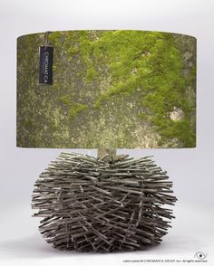 """TWIG TABLE LAMP  This is one on a kind piece. We used a twig base with our photographic lamp shade """"Moss""""."""