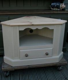 Shabby Chic Tv Corner Cabinet, Annie Sloan, Old Ochre, Farmhouse, Cottage