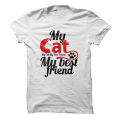 My cat my best friend T Shirts, Hoodies. Check price ==► https://www.sunfrog.com/Pets/My-cat-my-best-friend-69160524-Guys.html?41382 $20.5