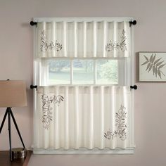 CHF Industries Scroll Leaf Tailored Tiered Kitchen Curtain - One Pair Ivory, Size: 58W x 24L in.