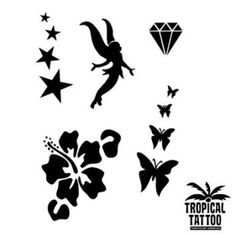 #Fee 2 #Hibiskus  #Diamant #Schmetterlinge 4er Sterne Gesamtfoliengröße: 14×10,7cm #Mylar #Mehrfachfolie Mylar #Folien sind dicker und mehrfach verwendbar. Nicht selbstklebend. Einfache Anwendung mit Sprühkleber. Ideal für temporäre #Airbrush-Tattoos und #Bodypaintings. Alle unsere #Folien sind mit #Lasertechnik produziert worden und dadurch sehr präzise