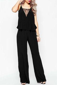 9cd7f6261e19 Stylish Black Lace Spliced Spaghetti Strap Straight Jumpsuit For Women