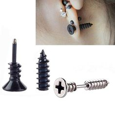 "Through your ear screw earrings resemble a screw and appear as though they're screwed right through your ears! You'll definitely deliver the ""Ouch"" factor with them! They are available in black and ca"