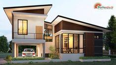 แบบบ้านโมเดิร์นชั้นครึ่ง 3 ห้องนอน 2 ห้องน้ำ สวยทันสมัย อบอุ่นน่าอยู่ - ที่นี่มีสาระ Model House Plan, House Plans, Modern Architecture House, Architecture Design, Rest House, Simple House Design, Bungalow House Design, Facade House, Miniature Houses