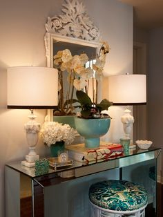 Mirrored console decorated perfectly.