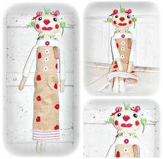 HANDMADE Primitive Folk Art Spring Strawberry by FosterChildWhimsy