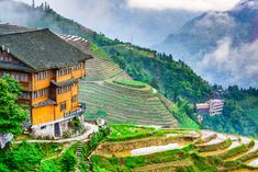 Chinese Rice Terraces by SeanPavonePhoto. Yaoshan Mountain, Guilin, China hillside rice terraces landscape.