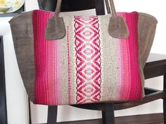 Ladies leather handbag tote bag with handwoven part  by RugsNBags
