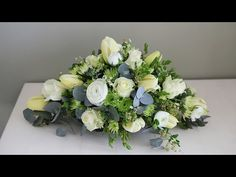 How to Make a Beautiful Deco Mesh Gravestone Saddle is part of Funeral flower arrangements - www cr Funeral Floral Arrangements, Flower Arrangements Simple, Simple Flowers, Amazing Flowers, White Flowers, Casket Flowers, Grave Flowers, Cemetery Flowers, Funeral Flowers
