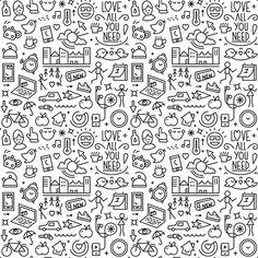 Summer good morning - seamless background with icons in thin line. Indie Drawings, Doodle Drawings, Easy Drawings, Notebook Doodles, Doodle Art Journals, Hand Doodles, Cute Doodles, Stick Poke Tattoo, Doodle Pages