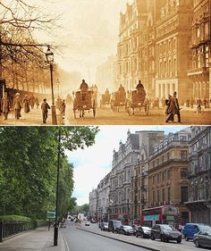 View of Piccadilly by Green Park, 1897 and 2011
