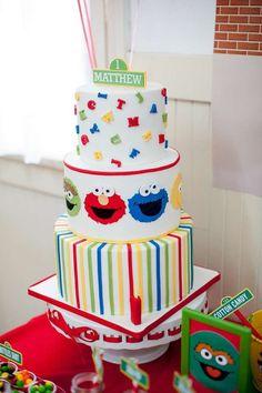 Sesame Street themed birthday party via Kara's Party Ideas KarasPartyIdeas. Birthday Cake Kids Boys, Elmo Birthday Cake, Elmo Cake, Boy Birthday Parties, Birthday Ideas, 2nd Birthday, Husband Birthday, Birthday Nails, Sesame Street Birthday Cakes