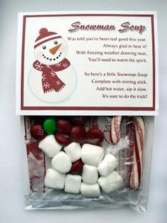 [Snowman Soup] Cute idea for stocking stuffers or Christmas party favors. Christmas Goodies, Christmas Treats, All Things Christmas, Winter Christmas, Christmas Presents, Christmas Time, Christmas Decorations, Christmas Activities, Preschool Christmas Gifts For Classmates