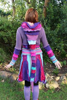 Recycled Patchy Pixie Hooded Sweater Dress by Twizzlez on Etsy, $180.00