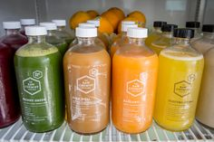 """""""raw juice bar"""" - This Toronto raw juice bar is set up almost like an apothecary, where owner Jessica Risi will recommend an all-natural, cold pressed juice based on. Juice Branding, Juice Packaging, Brand Packaging, Raw Juice Bar, Juice Bars, Cocktail, Cold Pressed Juice, Healthy Juices, Healthy Food"""