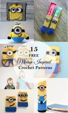 Be inspired by this fun roundup of minion crochet projects created by some very talented designers. Be inspired by this fun roundup of minion crochet projects created by some very talented designers. Crochet Gifts, Cute Crochet, Crochet For Kids, Crochet Dolls, Crochet Baby, Yarn Projects, Knitting Projects, Crochet Projects, Amigurumi Patterns