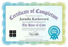 Certificate for Jarmila Karlovcová