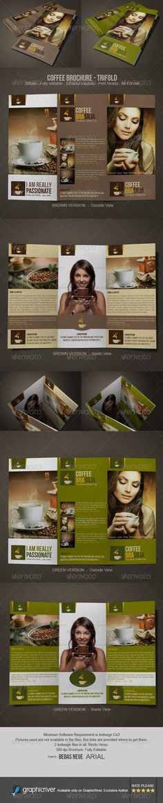 Coffee Brochure InDesign Tri-Fold Template • Only available here ➝ http://graphicriver.net/item/coffee-brochure-design-trifold/6333950?ref=pxcr
