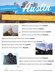 Austin Scavenger Hunt Worksheet - Also for other cities, great for summer