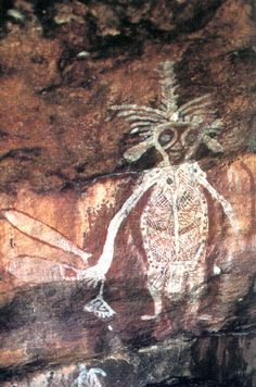 Ancestral spirit figure, from Arnhem Land, Australia. Presently dated to approximately 7-9,000 years ago