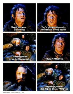 One of my favorite AUJ scenes. Every time I watch it, I see something I hadn't seen before. Bilbo's reaction to the slow minds of his companions is hilarious!