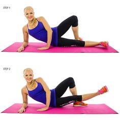 Inner Thigh Lifts: Lay down on your left side with your head propped up in your hands. Put your left leg out in front of your right and lift it straight up and down as much as you can while maintaining a straight leg. You don't need a big movement to feel this one. You can make it more difficult by holding a body bar across the working leg or putting an ankle weight on it.