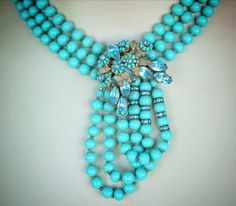 Vintage Early Miriam Haskell Aqua Three Strand Glass Bead Necklace | eBay