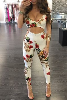 Sexy V-neck Floral Print Backless Cutout Waist Bodycon Jumpsuit
