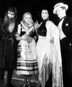 barbarastanwyck:  Personalities dressed as their favorite movie stars for a feast given by Mr. and Mrs. Donald Ogden Stewart. John Gilbert as Rasputin, Mrs. John Glibert as Vilma Banky, Kay Francis as Nita Naldi, and her husband Kenneth McKenna as Maurice Chevalier.