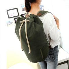 Cor Balde saco de lona 100% algodão puro estilo College mochila grande capacidade Contratada joker lazer e bolsa de viagem(China (Mainland))