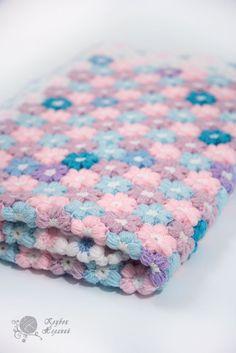 """Детский плед """"Цветочная фантазия"""". Вязаный плед крючком из пышных цветочков. #crochetbabyblanket"""