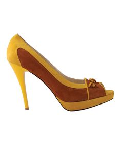 Another great find on #zulily! Yellow & Brown Leather Peep-Toe Pump by Ula's Fashion #zulilyfinds