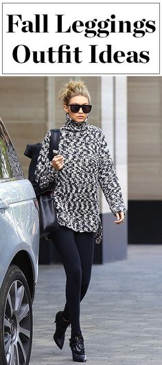 What to wear with leggings - click through for fall and winter outfit ideas from celebrities like Gigi Hadid, Kendall Jenner, Julianne Hough and more!