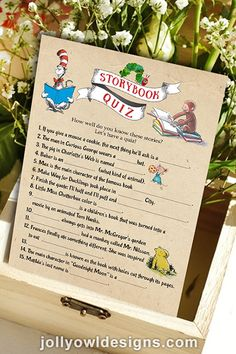 May 2020 - Let this storybook quiz tell how well your guests know the classic children's books. Baby Shower Activities, Baby Shower Printables, Baby Shower Games, Baby Shower Parties, Bow Baby Shower, Baby Shower Favors, Twin Baby Showers, Book Shower, Baby Shower Book Theme