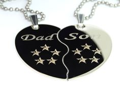 """Dad and Son Split Heart Engrave Dog Tag Necklace Pendant 24 inch Stainless Steel Chain Giftpouch and Keyring. Comes with Free Stainless Steel 24"""" Ball Chain Necklace ,Giftpouch and Keyring Chain. Could be used as a jewelry necklace or keychain. High Polished Stainlees Steel Dogtag. Tag Size: 2"""" H x 1.25"""" W (50mm H x 29mm W)."""