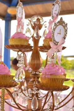 Pink and gold cupcakes at a princess birthday party! See more party ideas at CatchMyParty.com!