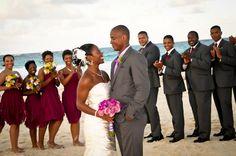 Love the bridesmaid dresses matching the groomsmen ties