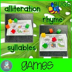 BUGS Phonological Awareness Fun~Rhyming, Alliterations, and Syllables, Phonological Awareness Activities, Rhyming Activities, Beach Theme Preschool, Preschool Themes, Initial Sounds, Preschool Special Education, Alliteration, Picture Cards, Small Groups