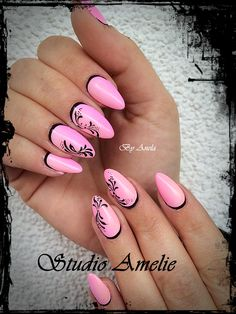 Black and pink nail design♥️♥️♥️ Pink Black Nails, Sparkly Nails, Bling Nails, Nail Pink, Black Nail Designs, Cute Nail Designs, Acrylic Nail Designs, Nail Manicure, Diy Nails