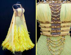 Sassy Yellow and Nude Standard with Beaded Strings on Bodice and Yellow Goose and Ostrich Feathers on Skirt