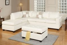 Cream Leather Match Sectional Sofa with Reversible Chaise Ottoman $627