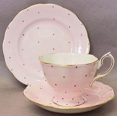Royal Albert Pale Pink Polka Dot Trio Contemporary English China High Tea