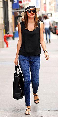 730569376c7 Current Elliot blue leopard jeans Miranda Kerr Style